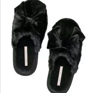Victoria's Secret black bow velvet slippers